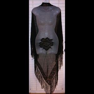 Boho gypsy fringe black netted shawl